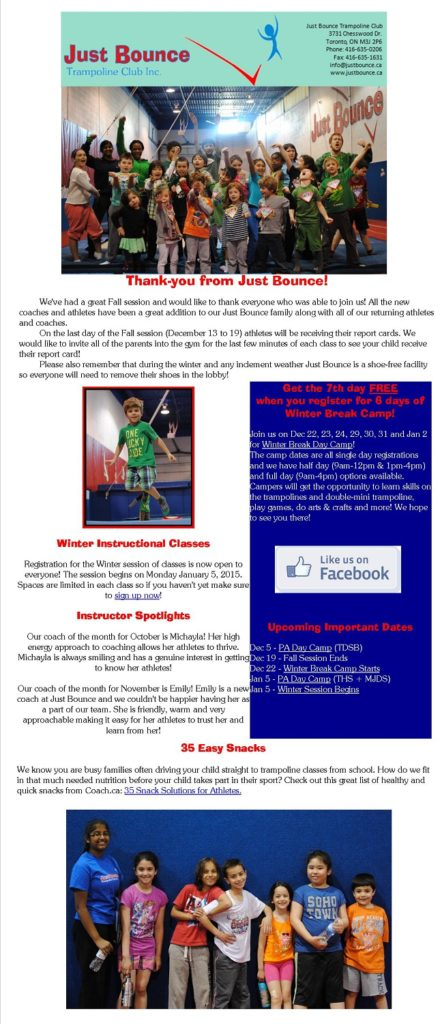 Newsletters | Just Bounce Trampoline Club
