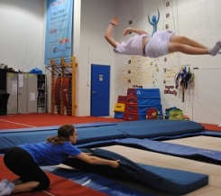 Liz Yona Twisting at Just Bounce Trampoline Training Centre in Toronto
